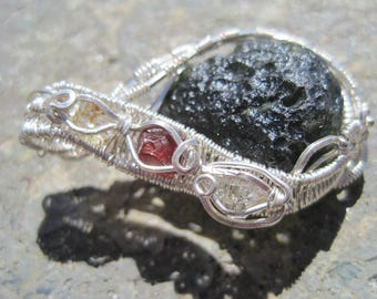 Somewhere Over The RainBow/// Moldavite, Red Spinel, Double Terminated, Oil Included, Pakimer Quartz, and Sterling Silver Wire Wrap Pendant