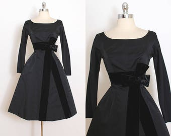 Vintage 50s Dress | Beldon Cann 1950s dress | black satin & velvet formal dress xs | 5751