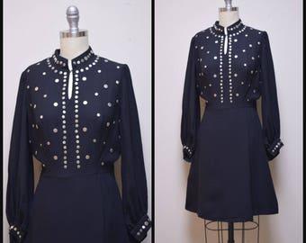 VTG 1960s/70s Designer Black Rayon Long Sleeved Dress w Studded Front Size S