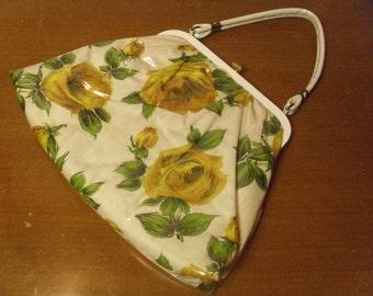 Vintage 1950's/1960's  Clear Vinyl Floral Handbag