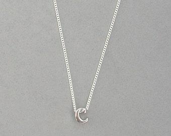 Rhodium Initial c Necklace