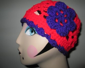 Red and Purple Flapper Hat Crocheted by SuzannesStitches, Womens Cloche Hat, Crochet Cloche Hat, Beach Cloche Hat, Womens Formal Hat, Cloche