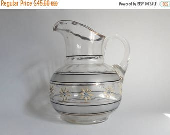 Antique Mid 1800's Glass Pitcher with Flower Design