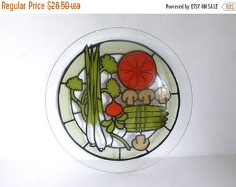 """Vintage 1970's Large 15"""" Glass Serving Platter Tray with Vegetable Images"""