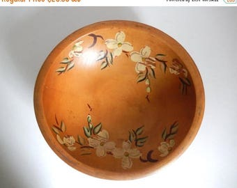 Mid Century Turned Pine Hand Painted Footed Wooden Bowl with Dogwood Branches
