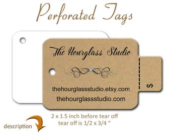Perforated Price Tags, Custom Tags, Product Tags, Tags,  Jewelry Tags, Gift Tags, Purse Tags, Large Tear off Tags