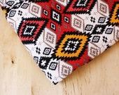 CLOSEOUT SALE Geometric Abstract Tribal Print Stretch Jersey Knit Fabric Red + Orange   1 Yard   Destash