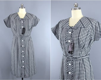 Vintage 1950s Dress / 50s Fashion First Day Dress / Black & White Checkered Cotton Sundress / Deadstock with Tags