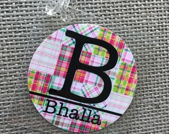 Monogrammed Bag Tag Madras Plaid Bag Tag Gift Tag  Luggage Tag Preppy Bag Tag Paid Bag Tag Personalized Laptop Tag Laptop Backpack Tag