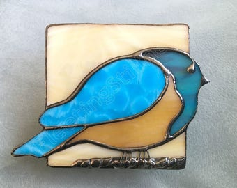 Blue Bird  Glass Night Light Beige Stained Glass Bluebird Nightlight Handmade OOAK