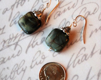 Green Red Creek Jasper Squares with Sterling Silver Earrings
