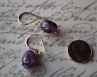 Amethyst Nuggets with Sterling Silver Earrings