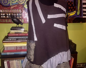 Size XL 1X Brown thermal vest recycled reconstructed ruffles