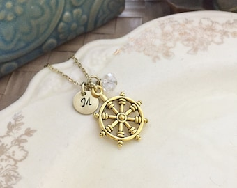 Ship Wheel Necklace, Initial Necklace, Gift Ideas,  Hand Stamped Necklace, Friendship Necklace, Gift For Her, Handmade Necklace