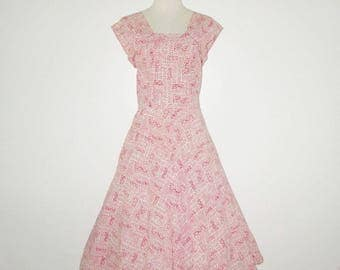 Vintage 1950s Dress / 50s Red & Ivory Dress Sundress With Abstract Design - M