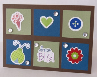 Dream Big Blank Encouragement Card In Blue And Green