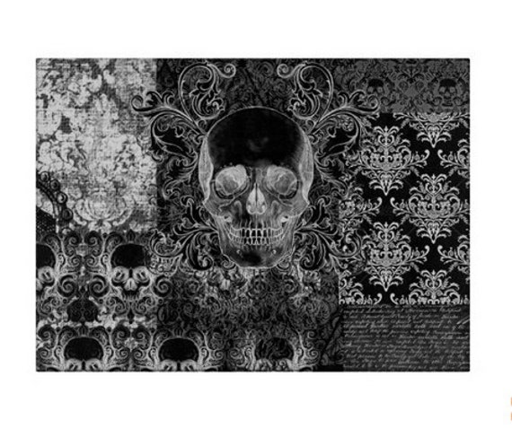 Gothic Shabby Chic Skull glass cutting board