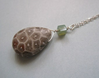 Fossil Coral Necklace in Sterling Silver and Tiny Moss Agate Stone Cube Modern Pendant Necklace