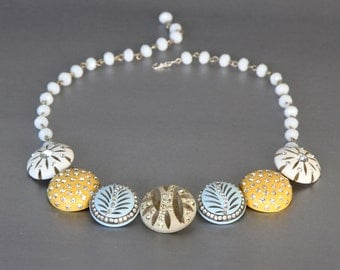 Cute as a Button. Vintage Celluloid Earring Statement Necklace