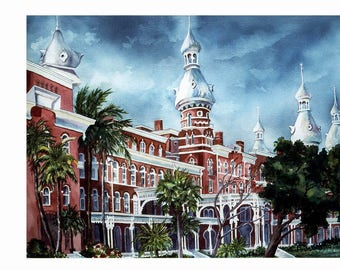 University of Tampa S/N Limited Edition Lithograph 14 x 19 Print or Tampa Bayshore