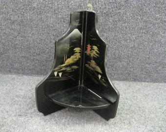 Japanese black lacquer folding shelf
