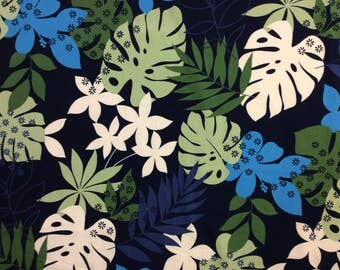 Tropical Cotton Hawaiian Print  in Navy  Blue (Yardage Available)