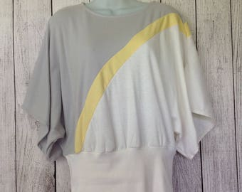 Vintage 80s Dove Originals Wide Sleeve Oversized Flashdance Ladies Shirt Small