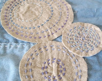 BORO Slow Stitch Patches, Embroidered Circles, set of 3