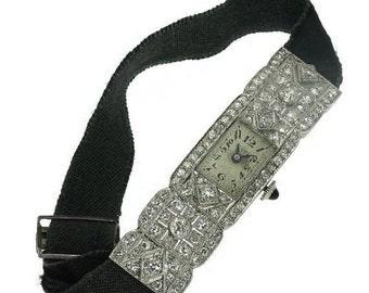 30% Off Winter Sale Unique Art Deco Pave Diamond Lady Watch 3.6 ct Diamond Cut Platinum 1920s Jewellery ref.09177-4350