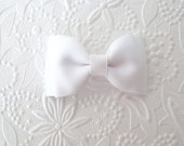 "Simple 3"" White Baby / Toddler Hair Bow Clip"