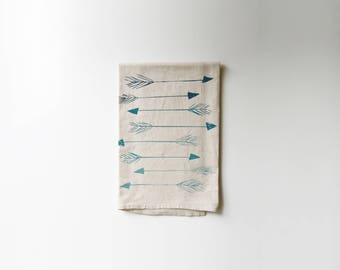 Arrows in Ombre Printed Flour Sack Tea Towel | Teal | Mint | Celedon | Screen Printed | Absorbent Dish Towel | Cloth Towel | Natural Cotton