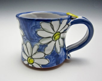 Petite Ceramic Coffee Mug - Small Pottery Coffee Mug - Gift for Her - Clay Mug - Tea Cup - White Daisy Flower - Majolica - Blue - 10 ounce