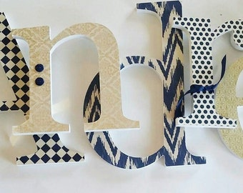 Baby Boy Wooden Letter, Navy Blue Nursery Decor, Navy and Cream Theme, Wood Wall Letters, Custom Hanging Name Design