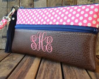 Polka Dot Monogrammed and Vegan Wristlet, Smart Phone Bag, Grab N Go Wristlet, Clutch, Wallet, Brown Vegan Clutch, Smart Phone Bag