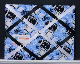 11 x 14 Blue Footballs and Helmuts Memory Board