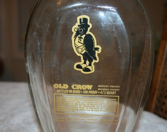 Vintage Old Crow Kentucky Whiskey Glass Bottle Decanter