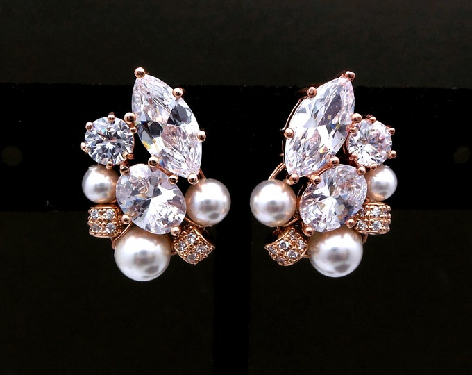 wedding bridal stud rose gold earrings jewelry gift prom party christmas marquise oval clear white cubic zirconia pearl cluster stud post