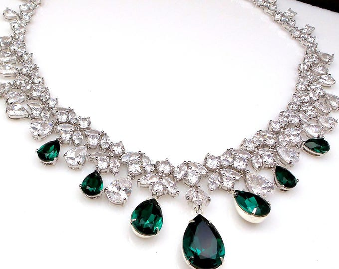 wedding jewelry prom bridal gift necklace pageant clear white multi shape cubic zirconia statement rhodium emerald green swarovski teardrop