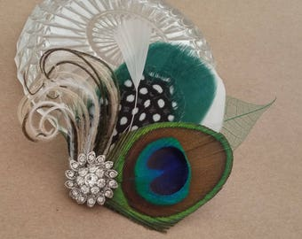 Bridal Hair Accessory,Bridal head piece,Bridal Fascinator, Peacock Feathers Fascinator,peacock feather wedding accessories