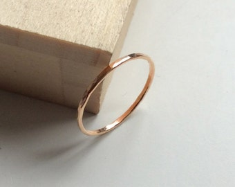 Super skinny 1mm ring, thin rose gold ring, thin ring, dainty ring, stacking rings