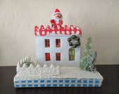 vintage 50s 60s Christmas Putz House - Santa on the roof, cardboard, decoration, made in Japan