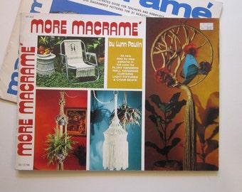 2 vintage books - MACRAME and MORE MACRAME - circa 1970s - Lynn Paulin