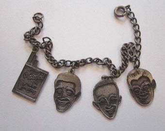 rare vintage advertising charm bracelet - Chesterfield Cigarettes, Bing Crosby, Perry Como, Arthur Godfrey - N.A.T.D. Chicago 1950