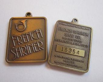 2 vintage metal key tags - FRENCH SHRINER Shoe Co advertising - metal key tags