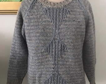 Vintage JOHN MOLLOY Irish Handknit Sweater Blue And Gray Pullover Womens M 100% Wool Winter Fashion Ireland Celtic Arty
