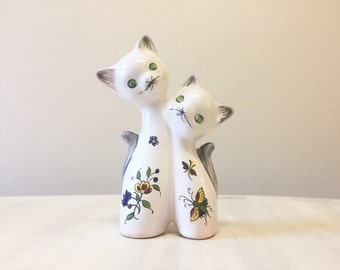 Retro pottery cats, vintage cat figurine, white cat figurine, vintage figurine, vintage china cats, vintage pottery cats, retro cat ornament