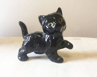 Vintage black cat, vintage halloween, vintage cat, ceramic cat, china cat ornament, halloween cat, retro cat statue, black cat ornament