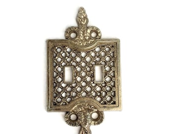 Ornate Gold Metal electrical plug cover plate / Double light switch Plate cover