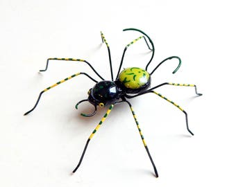 Small Black and Green Spider, Wire Art, Wire Spider, Unique Gift for Him, For Her,