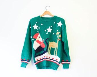 Vintage Ugly Christmas Santa Reindeer Sweater